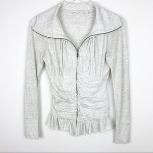 Anthropologie | E By Eloise Ruched Grey Zip Up